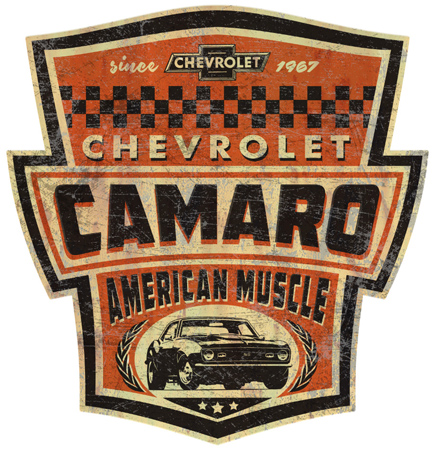 Camaro Tin Sign by Greg Dampier - Illustrator & Graphic Artist of Portland, Oregon