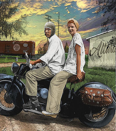 Ruth On back of Vintage Mororcycle Alturas close by Greg Dampier - Illustrator & Graphic Artist of Lake Wales, Florida