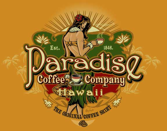 Paradise Coffee Company - Hawaii by Greg Dampier - Illustrator & Graphic Artist of Lake Wales, Florida