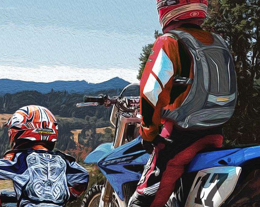 Father & Son Dirtbikes close 2 by Greg Dampier - Illustrator & Graphic Artist of Portland, Oregon
