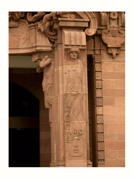 theater in manheim germany close up of column by Greg Dampier - Illustrator & Graphic Artist of Portland, Oregon