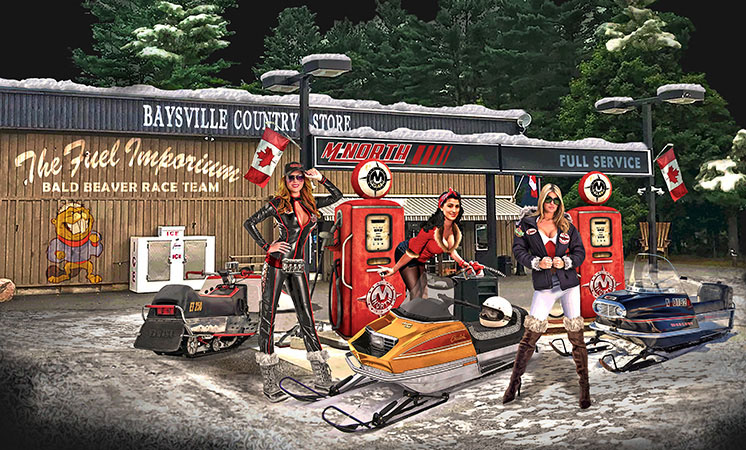 MNorth Gas Station Snowmobile girls by Greg Dampier - Illustrator & Graphic Artist of Portland, Oregon