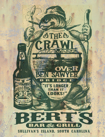 crawl burts bar by Greg Dampier - Illustrator & Graphic Artist of Portland, Oregon