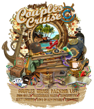 COUPLES CRUISE SUITCASE by Greg Dampier - Illustrator & Graphic Artist of Portland, Oregon
