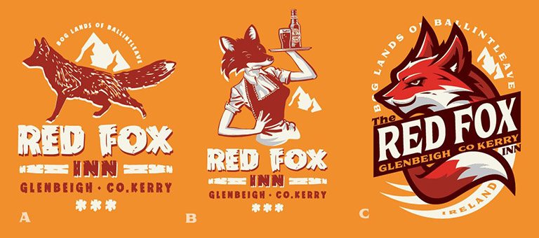 Red Fox Inn proposed designs by Greg Dampier - Illustrator & Graphic Artist of Portland, Oregon