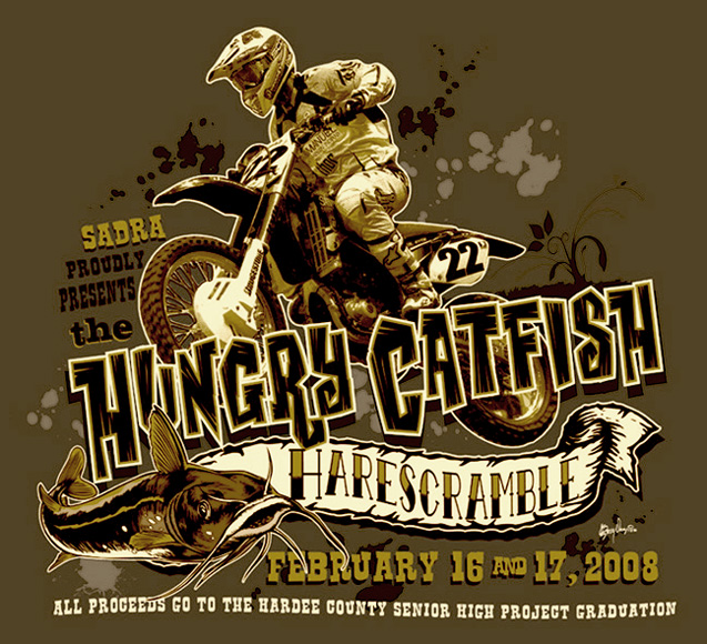 hare scramble hungry catfish tee by Greg Dampier - Illustrator & Graphic Artist of Portland, Oregon