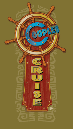 Couples cruise logo blue gold by Greg Dampier - Illustrator & Graphic Artist of Lake Wales, Florida