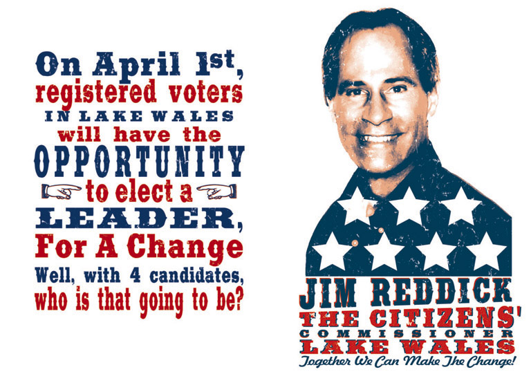 jim reddick political poster by Greg Dampier - Illustrator & Graphic Artist of Lake Wales, Florida
