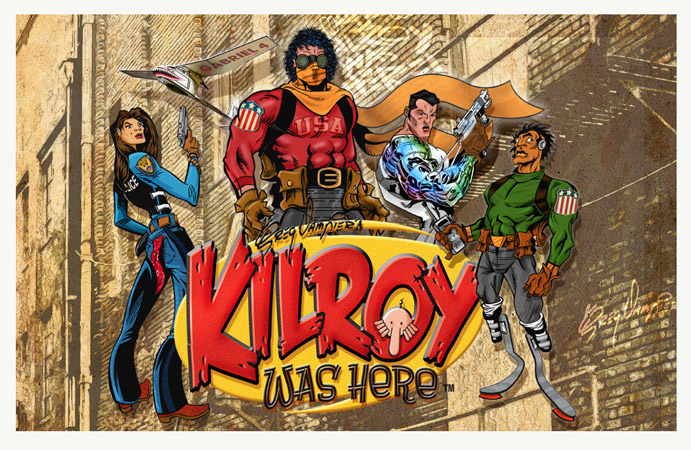 Kilroy was here group shot by Greg Dampier - Illustrator & Graphic Artist of Lake Wales, Florida