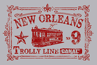 New Orleans Vintage Trolly Stamp A by Greg Dampier - Illustrator & Graphic Artist of Portland, Oregon