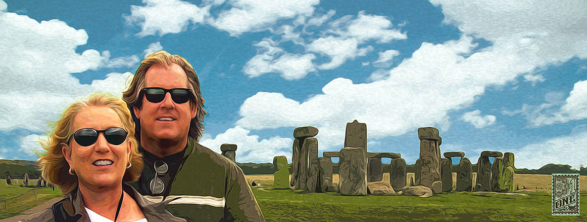 Marion and greg stonehenge eng by Greg Dampier - Illustrator & Graphic Artist of Lake Wales, Florida