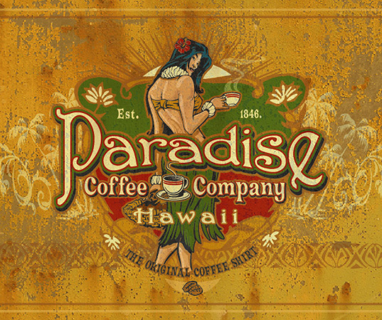 Paradise Coffee Co close vintage by Greg Dampier - Illustrator & Graphic Artist of Lake Wales, Florida