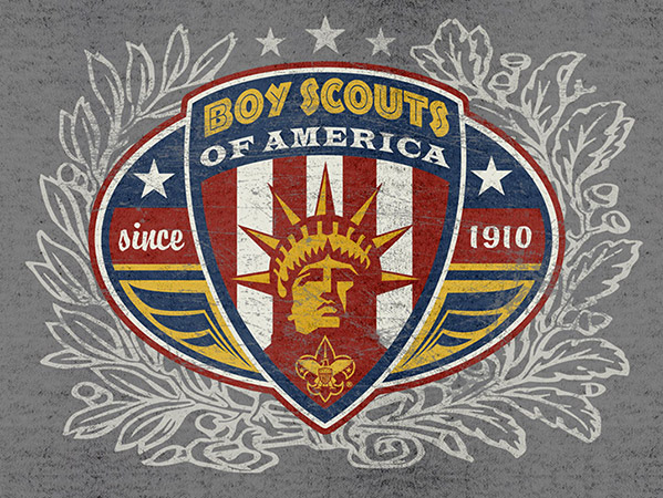 Boy Scouts Liberty crest by Greg Dampier - Illustrator & Graphic Artist of Portland, Oregon