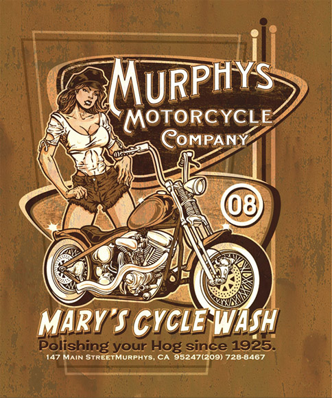 murphys motorcycle co tee 2 by Greg Dampier - Illustrator & Graphic Artist of Portland, Oregon