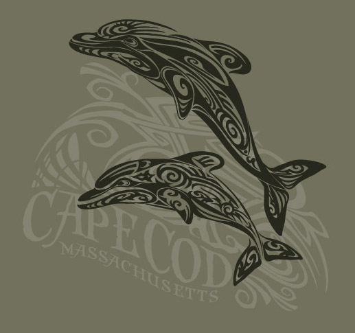 cape cod tribal dolphin tee by Greg Dampier - Illustrator & Graphic Artist of Portland, Oregon