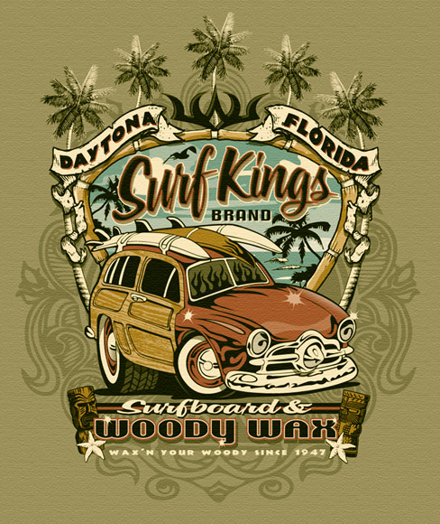 surf kings woody wax tee by Greg Dampier - Illustrator & Graphic Artist of Lake Wales, Florida