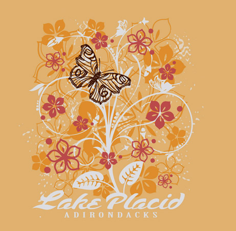 Lake Placid ladies floral tee by Greg Dampier - Illustrator & Graphic Artist of Portland, Oregon