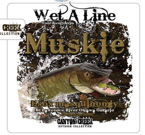 muskie fishing tee by Greg Dampier - Illustrator & Graphic Artist of Portland, Oregon