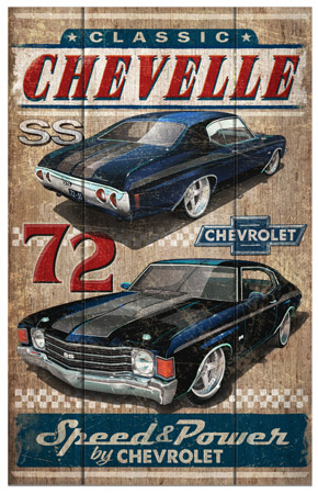 Classic Chevelle Wooden sign rustica by Greg Dampier - Illustrator & Graphic Artist of Portland, Oregon