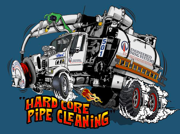 Hard Core Pipe Cleaning truck cartoon by Greg Dampier - Illustrator & Graphic Artist of Portland, Oregon