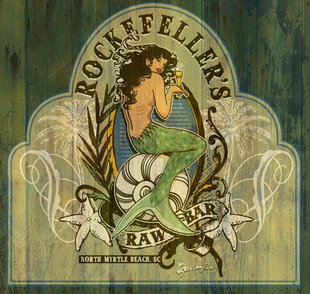 rockefellers restaurant sign by Greg Dampier - Illustrator & Graphic Artist of Lake Wales, Florida