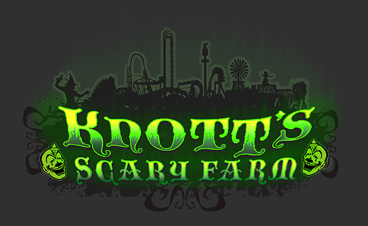 Knotts Scary Farm Glow-in- the-Dark tee design by Greg Dampier - Illustrator & Graphic Artist of Portland, Oregon