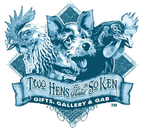 TWO HENS LOGO VECTOR ART 3 SPOT COLORS by Greg Dampier - Illustrator & Graphic Artist of Portland, Oregon