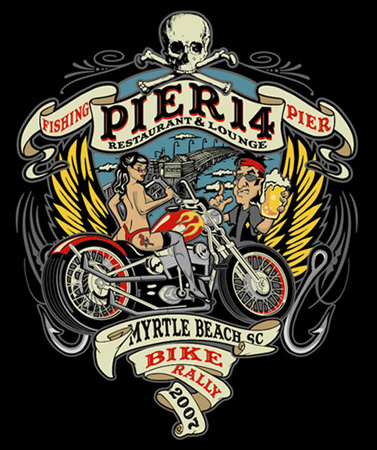 PIER 14 BIKE RALLY 07 by Greg Dampier - Illustrator & Graphic Artist of Lake Wales, Florida