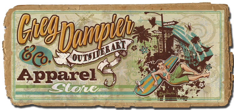 Greg Dampier & Co Outsider art store banner by Greg Dampier - Illustrator & Graphic Artist of Lake Wales, Florida