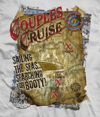 Couples Cruise map tee by Greg Dampier - Illustrator & Graphic Artist of Portland, Oregon