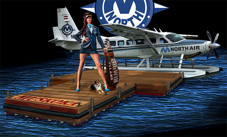 Cessna Pilot with golf clubs by Greg Dampier - Illustrator & Graphic Artist of Lake Wales, Florida