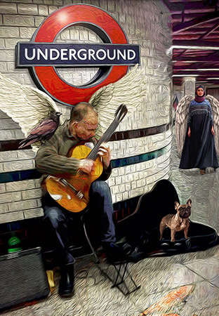 angel sax underground by Greg Dampier - Illustrator & Graphic Artist of Lake Wales, Florida