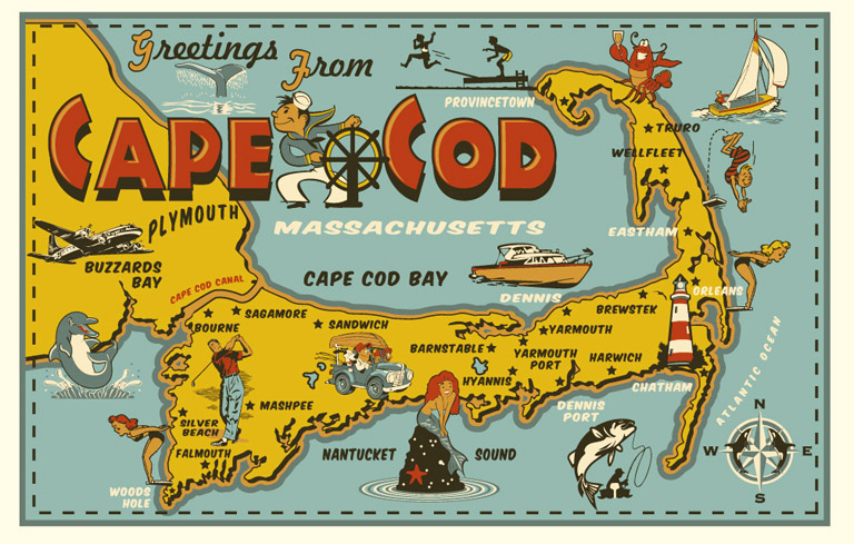 cape cod post card tee by Greg Dampier - Illustrator & Graphic Artist of Portland, Oregon