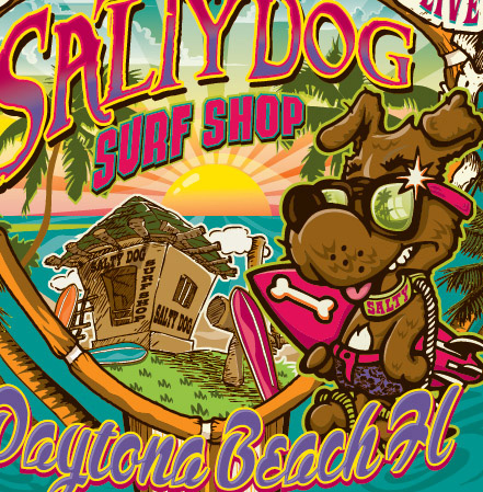 salty dog closeup by Greg Dampier - Illustrator & Graphic Artist of Portland, Oregon