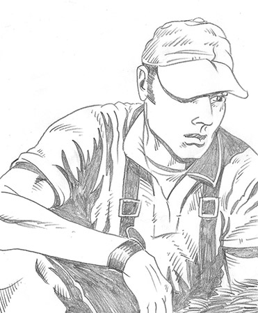 Bow hunter Sketch by Greg Dampier - Illustrator & Graphic Artist of Lake Wales, Florida