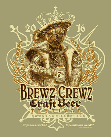 Brewz Crewz Lakeland 2016 event tee option 2 by Greg Dampier - Illustrator & Graphic Artist of Portland, Oregon