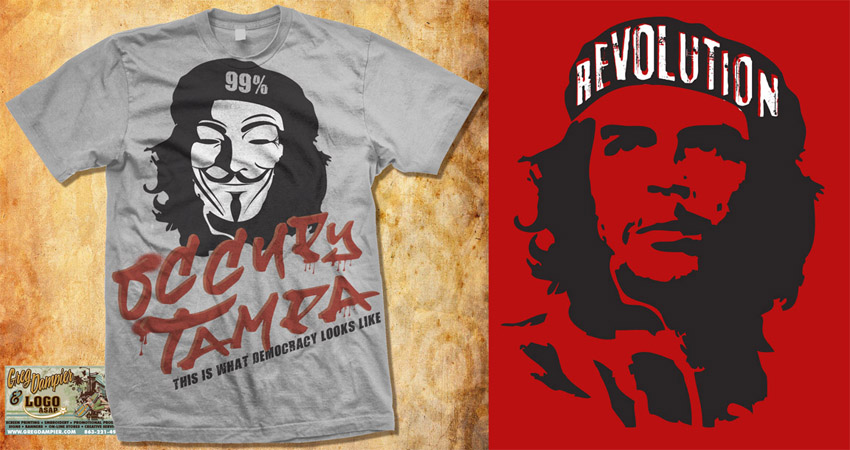 Occupy Tampa  and che revolution tee by Greg Dampier - Illustrator & Graphic Artist of Portland, Oregon