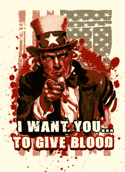 Uncle Sam Blood Tee by Greg Dampier - Illustrator & Graphic Artist of Lake Wales, Florida
