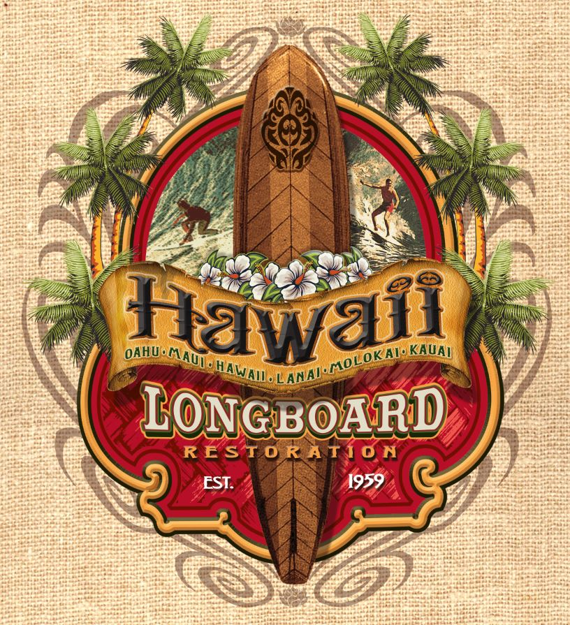Hawaii Longboard restoration by Greg Dampier - Illustrator & Graphic Artist of Portland, Oregon