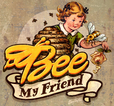 Bee My Friend Logo by Greg Dampier - Illustrator & Graphic Artist of Portland, Oregon