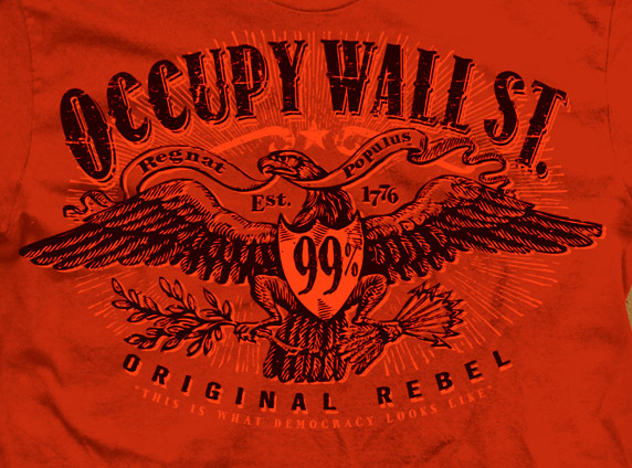 Occupy wall Street red Eagle Tee by Greg Dampier - Illustrator & Graphic Artist of Portland, Oregon
