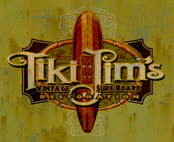 tiki jims surfboard restoration tee by Greg Dampier - Illustrator & Graphic Artist of Lake Wales, Florida