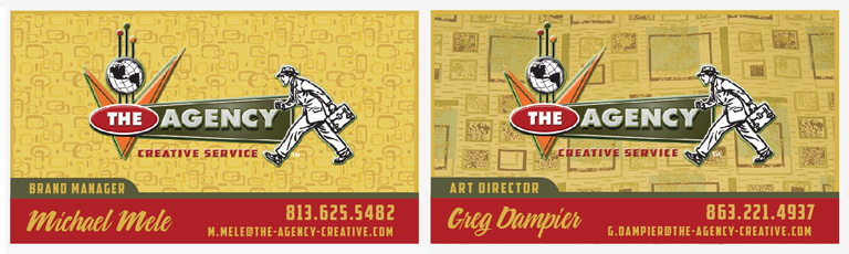 The Agency Creative Services Staff business crads by Greg Dampier - Illustrator & Graphic Artist of Lake Wales, Florida