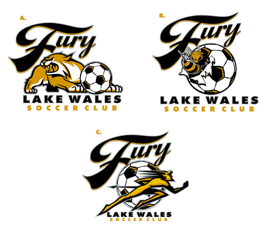 fury soccer club logos part 3 by Greg Dampier - Illustrator & Graphic Artist of Portland, Oregon