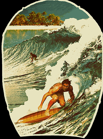Vintage Hawaiian Surfers illustration by Greg Dampier - Illustrator & Graphic Artist of Lake Wales, Florida