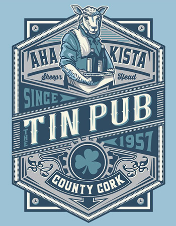 Tin Pub bar tee by Greg Dampier - Illustrator & Graphic Artist of Portland, Oregon
