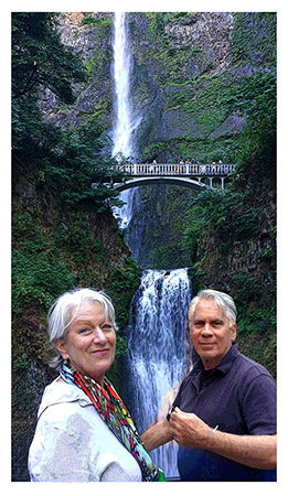 Marion Tonner and Phillip Carman at a waterfall. by Greg Dampier - Illustrator & Graphic Artist of Portland, Oregon