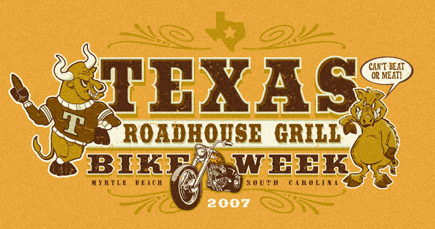 Texas Roadhouse Grill Bike Week - Wide Design by Greg Dampier - Illustrator & Graphic Artist of Lake Wales, Florida