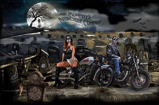 Murphys Motorcycle Company Day of the Dead/Halloween Tee by Greg Dampier - Illustrator & Graphic Artist of Portland, Oregon