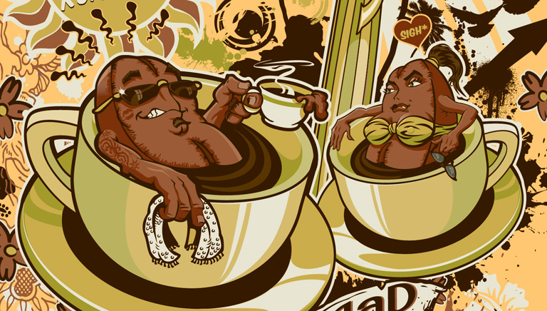 coffe dudes promo piece by Greg Dampier - Illustrator & Graphic Artist of Portland, Oregon